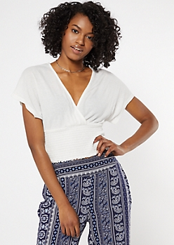 White Smocked Surplice Crop Top