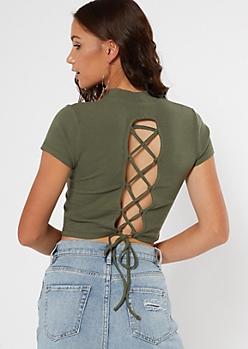 Olive Mock Neck Cutout Lace Up Back Top