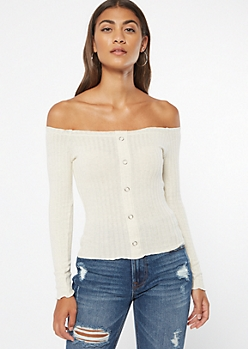 Heathered Oatmeal Off The Shoulder Snap Ribbed Top