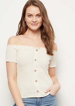 Heathered Oatmeal Off The Shoulder Button Front Ribbed Top