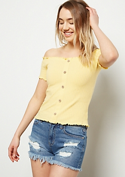 Light Yellow Off The Shoulder Button Front Ribbed Top