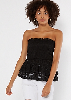 Black Lace Layered Peplum Top