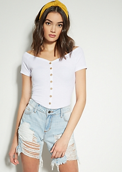 White Button Down Wide Neck Tee