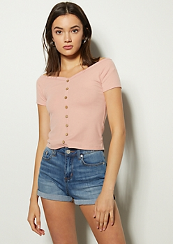 Pink Button Down Wide Neck Tee