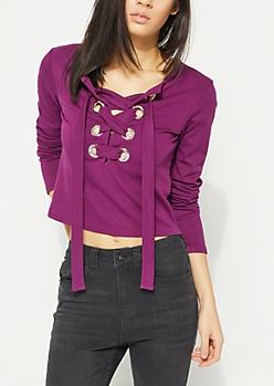 Purple Lace Up Grommet Tee