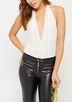 White Plunging Neckline Lace Bodysuit