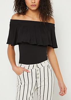 Black Super Soft Off Shoulder Bodysuit