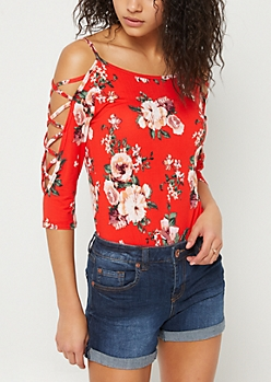 Red Floral Print Super Soft Cold Shoulder Bodysuit