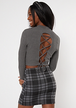 Heather Gray Lace Up Back Mock Neck Top