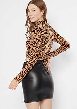 Cheetah Print Long Sleeve Lace Up Back Top