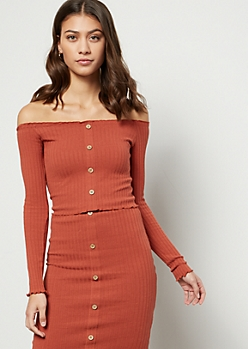 Burnt Orange Ribbed Knit Button Down Crop Top