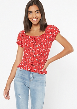 Red Floral Print Lace Up Smocked Top