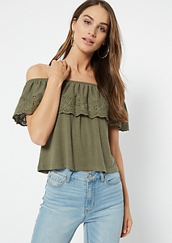 Olive Crochet Flounce Off The Shoulder Top