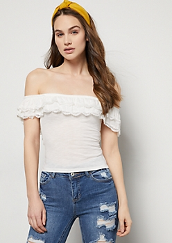 Ivory Flounced Off The Shoulder Crochet Top