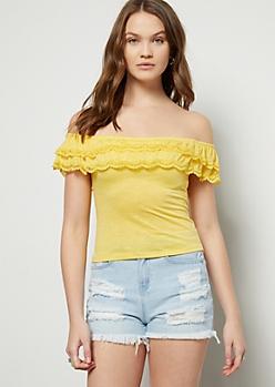 dc37dba222 Yellow Flounced Off The Shoulder Crochet Top