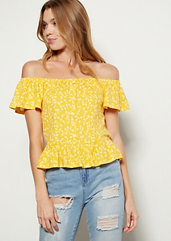 Yellow Floral Print Flounce Off The Shoulder Top