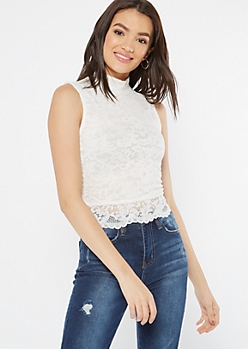 White Lace Mock V Neck Tank Top