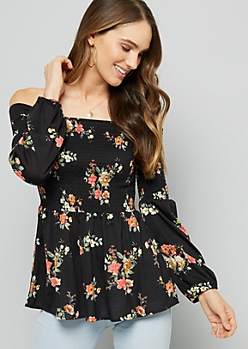 Black Floral Print Smocked Off The Shoulder Top