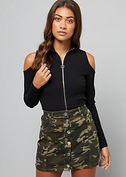 Black Ribbed Knit Cold Shoulder Zip Top
