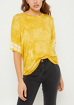 Dark Yellow Tie Dye Print Oversized Tee