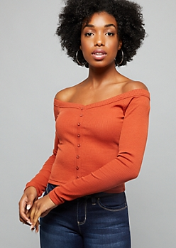 Burnt Orange Off The Shoulder Ribbed Knit Tee