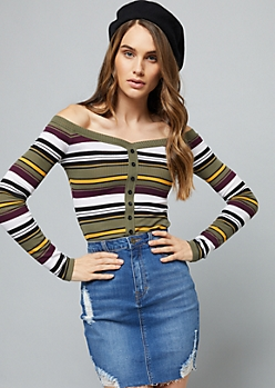 Olive Striped Off The Shoulder Ribbed Knit Tee