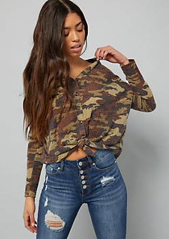 Camo Print Button Down Waffle Knit Tie Front Top