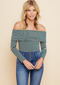 Green Striped Off The Shoulder Long Sleeve Top
