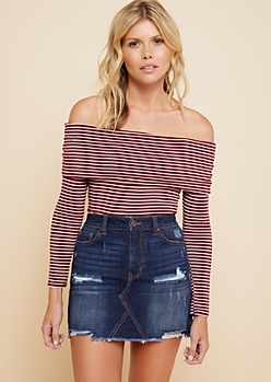 Burgundy Striped Off The Shoulder Long Sleeve Top