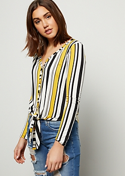 Yellow Striped Long Sleeve Tie Front Tee