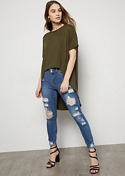 Olive Super Soft High Low Tunic