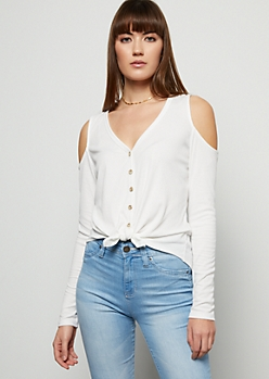 Ivory Ribbed Knit Cold Shoulder Tie Front Shirt