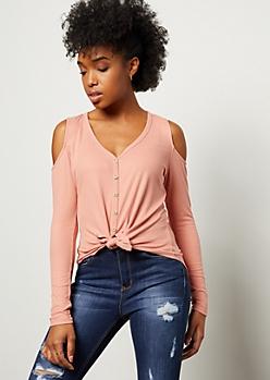 Pink Ribbed Knit Cold Shoulder Tie Front Shirt