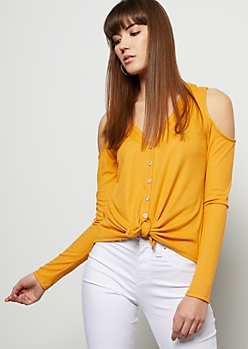 Mustard Ribbed Knit Cold Shoulder Tie Front Shirt