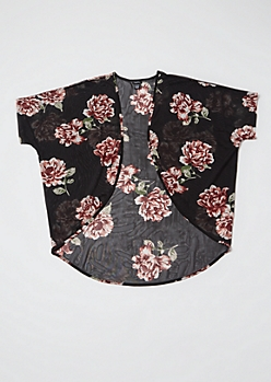 Black Floral Print Mesh Kimono