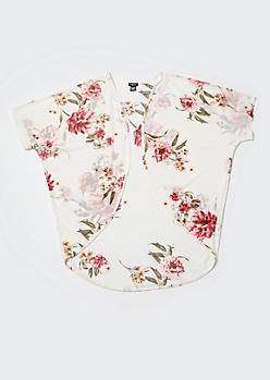 White Floral Print Mesh Kimono