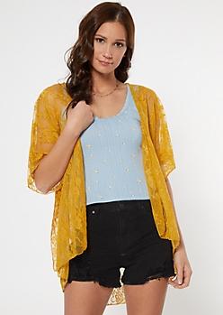 Mustard High Low Lace Kimono