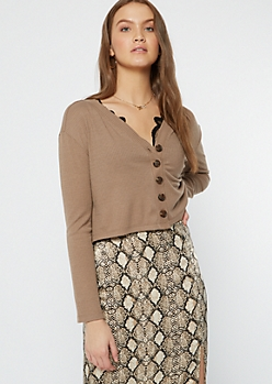 Taupe Ribbed Knit Cropped Cardigan
