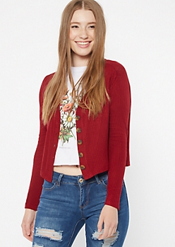 Dark Red Ribbed Knit Cropped Cardigan