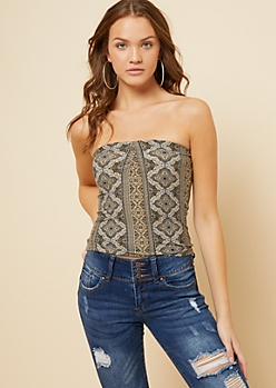 Olive Border Print Cinched Neck Tube Top