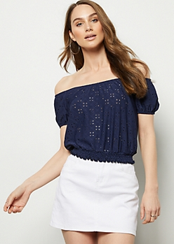 Navy Open Knit Smocked Hem Crop Top