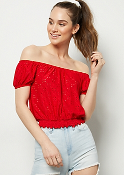 Red Open Knit Smocked Hem Crop Top