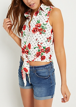 Ivory Dotted Floral Print Button Down Tank Top