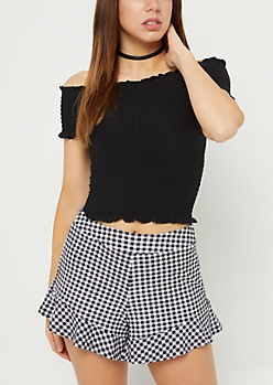 Black Off Shoulder Smocked Crop Top