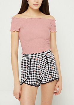 Pink Off Shoulder Smocked Crop Top