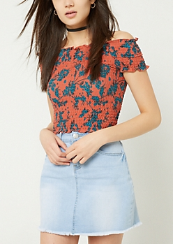 Burnt Orange Floral Print Smocked Crop Top