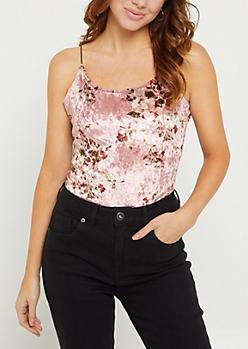 Pink Floral Velvet Thong Bodysuit