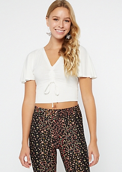 Ivory Flutter Sleeve Ruched Drawstring Crop Top