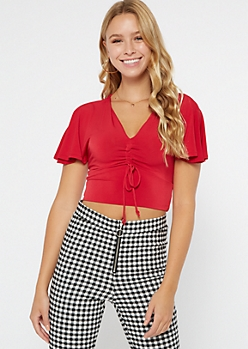 Red Flutter Sleeve Ruched Drawstring Crop Top