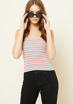 Fuchsia Striped Pattern Ribbed Knit Cropped Tube Top
